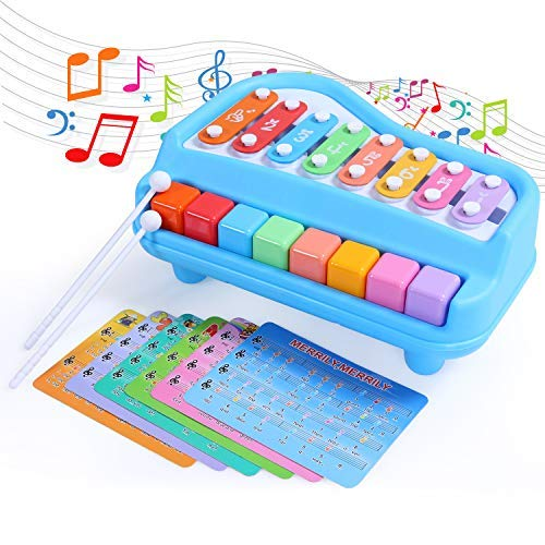 (ANTAPRCIS Piano Xylophone Toy, 8 Key Scales Musical Instruments Toyset Toy with 6 Music Scores for Toddlers Babies Gift)