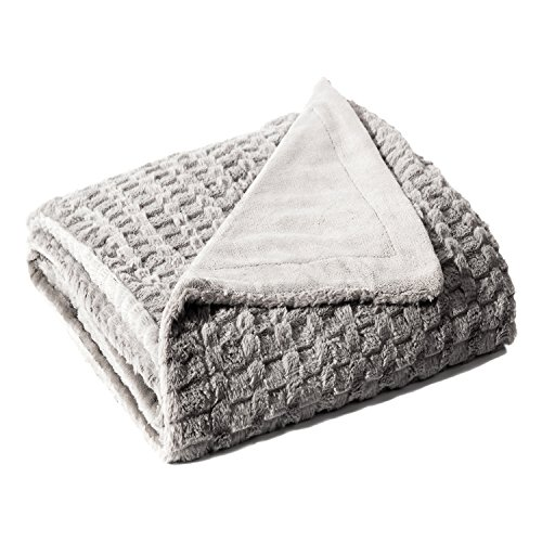 Bedsure Faux Fur Reversible Fleece Throw Blanket – Super Soft Fuzzy Lightweight Throw for Couch Chair Sofa and Bed(Twin 60x80, Grey)