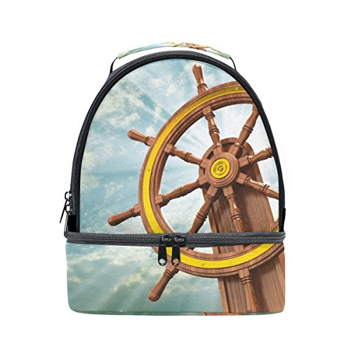 LORVIES Ships Wheel Lunch Bag Dual Deck Insulated Lunch Cooler Tote Bag Adjustable Strap Handle for Women Men Teens Boys Girls