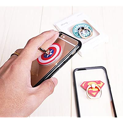 ZOEAST(TM) 8pcs Phone Ring Grip Marvel Super Hero Universal 360° Adjustable Holder Car Hook Stand Stent Mount Kickstand Compatible with All iPhones Samsung Android Pad Tablet (8 Packs)