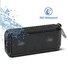 Bluetooth Bicycle Speaker New Bee 18 Core 10W Bicycle Mount Metal Hook Loop Wireless Waterproof Speaker with 2 Titanium Coating Horn, Bass Diaphragm for Outdoor Sports Travel Bicycle Cycling (Black)