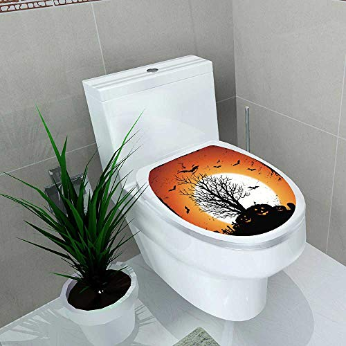 Home Decoration Jack O' Lantern of Pumpkins for Halloween Holidays Toilet Cover Stickers W13 x L18]()
