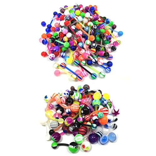 50 Pieces Tongue Ring and 50 Belly Button Rings Flexible Kit