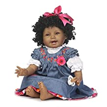 Christmas Birthday Gift Soft 55Cm Black Skin Cotton Body Lifelike Newborn Baby Girl Children'S Day Silicone Baby Dolls Reborn Holiday Wedding Reduce Anxiety Help Autism Pregnant Women
