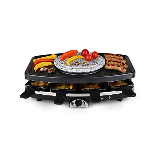 Klarstein Entrecôte - Raclette-Grill & Fonduta 2in1, 1100 W, 2in1: Piastra in Metallo & Pietra Naturale, Elemento… 4