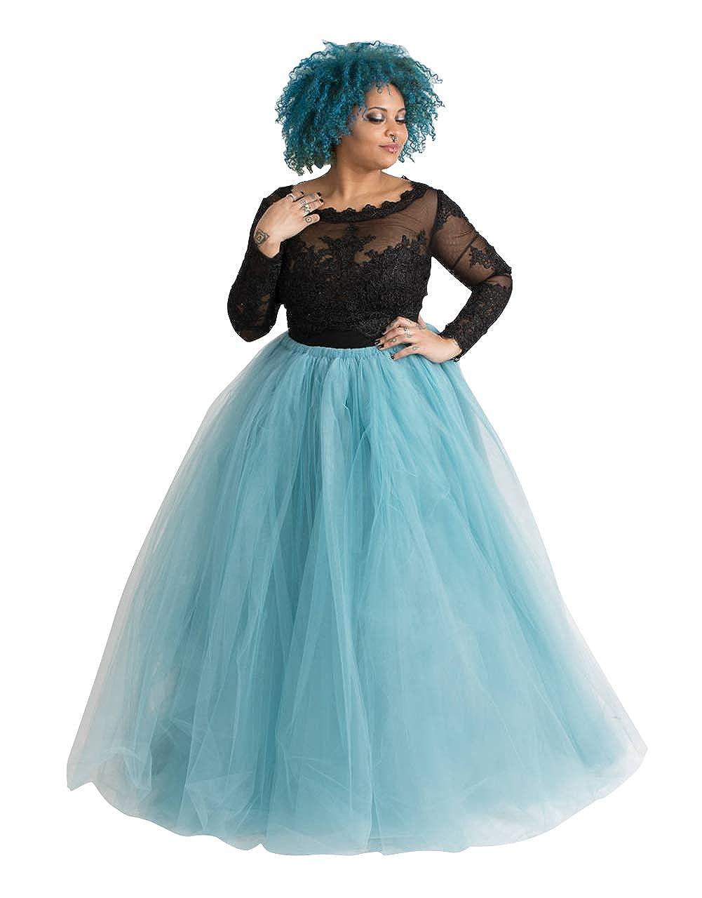Flowerry Fluffy and Long Adult Tutu Tulle Skirt Bridesmaid Skirt Maxi Skirt Prom Skirt Ball Skirt (4XL, Egyptian bluee)