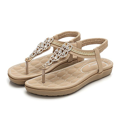 Size Sandalias de Playa Bohemia Chanclas Romanas Damas Shoes Beach Casuales Sandalias Shoes Verano Zapatos Mujeres Casual Café 42 36 de aSzExqFwR