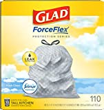 Glad® ForceFlex Tall Kitchen Drawstring Trash Bags – 13 Gallon Trash Bag, Fresh Clean scent with Febreze Freshness – 110 Count