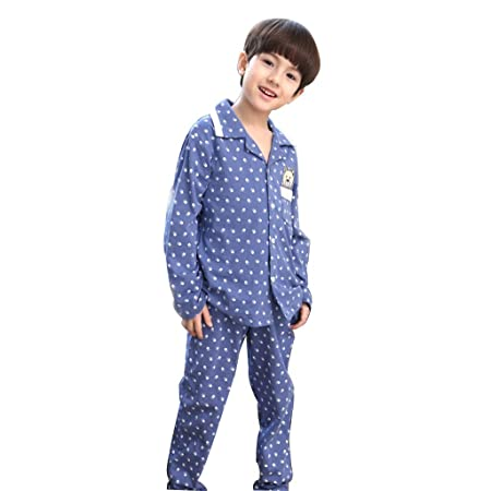 d48dea73ca Meng Wei Shop Children s pajamas boys spring and autumn cotton pajamas long-sleeved  pajamas for kids (Color   Blue