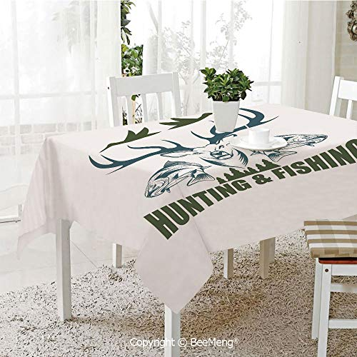BeeMeng Spring and Easter Dinner Tablecloth,Kitchen Table Decoration,Hunting Decor,Artistic Emblem Moose Head Horns Trout Salmon Sea Fishes Decorative,Olive Green Slate Blue White,59 x 83 inches