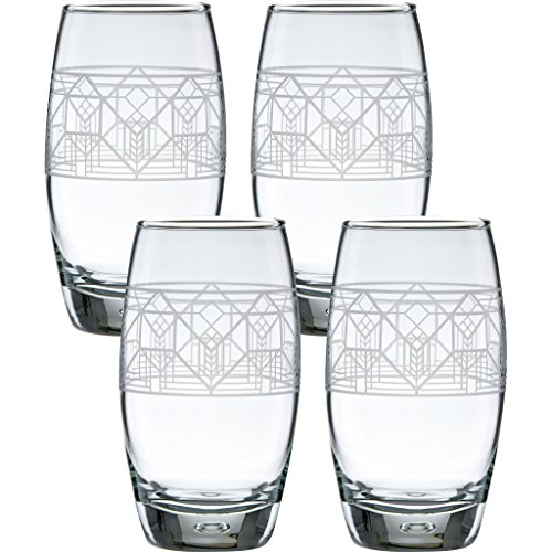 1867 Frank (Frank Lloyd Wright Lake Geneva Tulip Oxygen Cooler Glass 16-Ounce Set of 4)