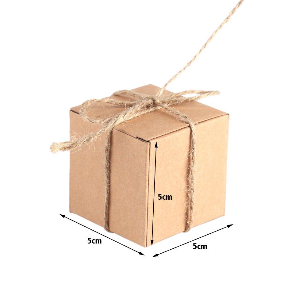 50pcs Mini Square Party Favor Box Bausatz 5x5x5cm Pralinenschachtel B/äckereik/ästen Karton-Geschenkverpackungen Mini-Koffer Vintage Kraftpapier mit Sackleinen Schnur f/ür Hochzeitsdekoration