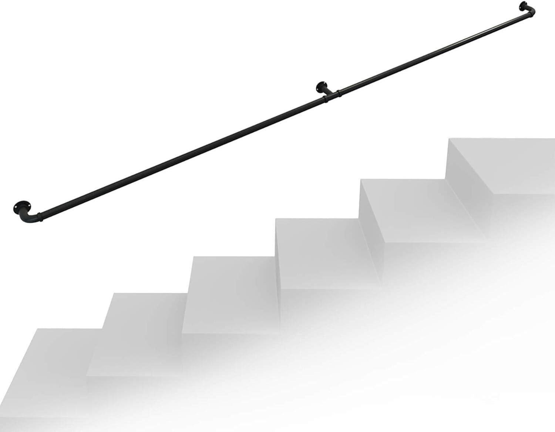 VAN+ Pasamanos para escaleras Interiores y Exteriores Hierro Forjado barandilla de Escalera de tubería Industrial Antideslizante Soporte de pared-60cm L