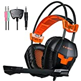 LETTON G20 PS4,Xbox 360 Gaming Headset Multi Function Pro Headphones with Microphone for PC/PS4/Xbox 360/ iPhone /Smart Phone /Laptop /iPad /Mobilephones(Black/Orange)