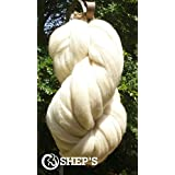 1 lb POUND Natural White Wool Top Roving Fiber Spin, Felt Crafts LUXURIOUS with FAST SHIPPING! 1lb
