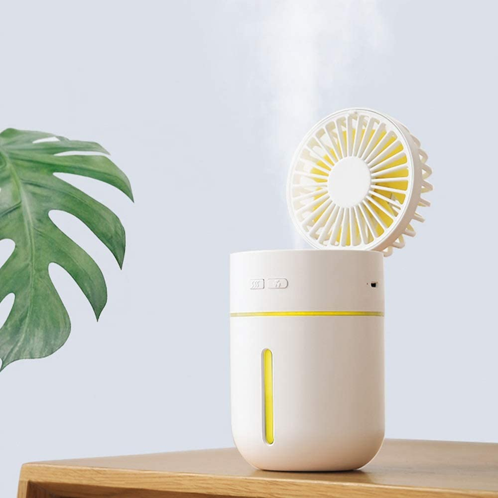1.5A 2W Color : White XIAOXIONG USB Rechargeable Mini Fan Spray Humidification Student Dormitory Dormitory Portable Small Car Desk Surface DC5V