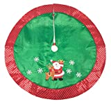 Red and Green Santa with Rudolph Christmas Tree Skirt by Clever Creations | Floor Cloth with Sequin Trim | Traditional Classic Festive Holiday Decor | Catches Falling Needles and Sap | 36'' Diameter