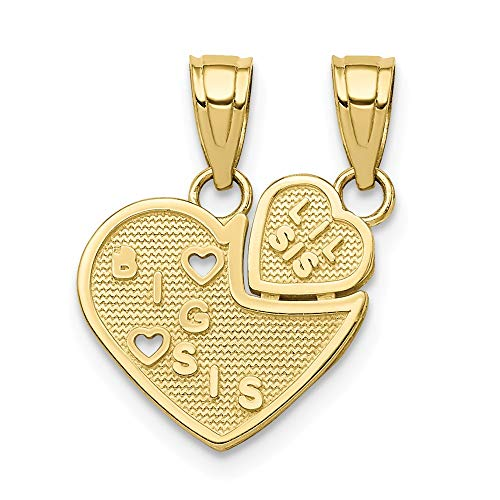 10k Yellow Gold Big Sis Lil Break Apart Heart Pendant Charm Necklace Break?apart Love Fine Jewelry Gifts For Women For Her (Pendant Apart Break)