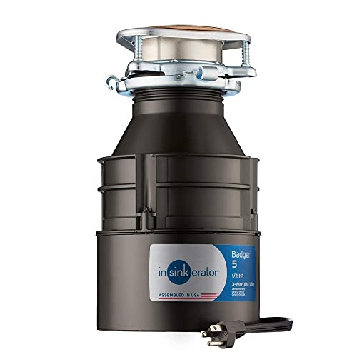 InSinkErator Garbage Disposal with Cord, Badger 5, 1 2 HP Continuous Feed