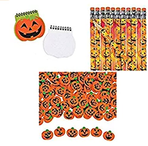 Pumpkin Notepad, Pencil and Erase Set (84 Pieces)