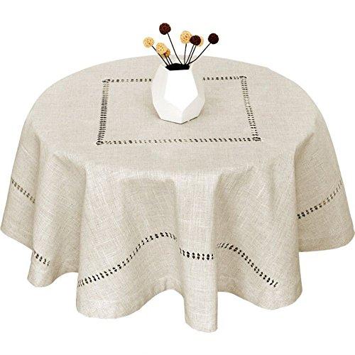 Grelucgo Handmade Double Hemstitch Natural Tablecloth, Round 72 Inch (Centerpiece Size For 72 Inch Round Table)