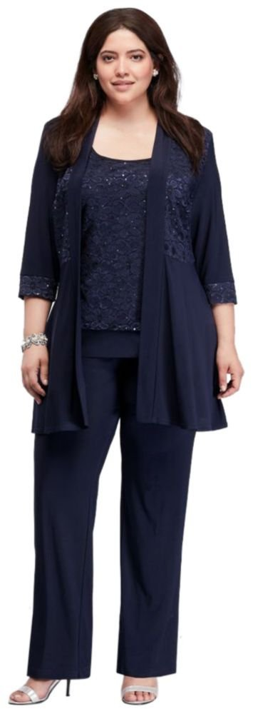 David's Bridal Plus Size Mock Two Piece Lace and Jersey Pant Suit Style 7772W, Navy, 24W