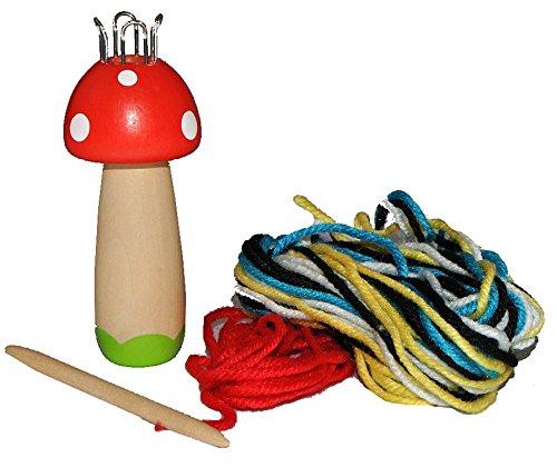 Strickliesel Pilz aus Holz mit Wolle - Strickursel - für Kinder Strickpilz Strickliesl stricken lernen Handarbeit woody