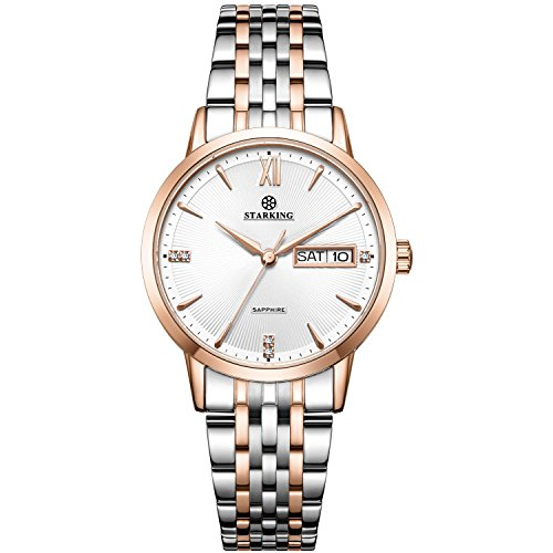(STARKING Women Watches Rose Gold Silver Bicolor BL0993 Stainless Steel Quartz with Day Date Rhinestones)