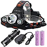 Rockbirds LED Headlamp, 3 Beads Waterproof with 4 Modes Adjustable Hands Free Headlight Helmet Light, UL Rechargeable Batteries + UL Charger + MINI LED Flashlight