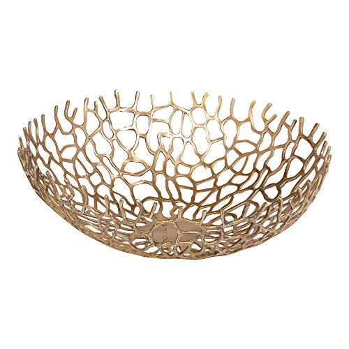 Ethan Allen Round Coral Bowl, Brass ()