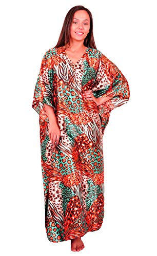 Up2date Fashion Satin Caftan/Kaftan, Tropical Cocktail Animal Print, One Size, Style Caf-30