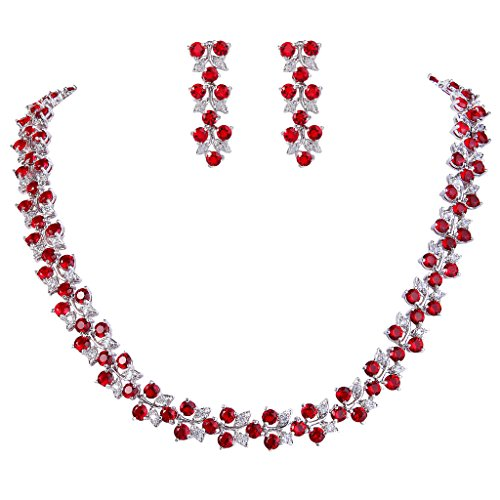 EVER FAITH Women's Cubic Zirconia Floral Leaf Wedding Necklace Earrings Set Red w/Clear Silver-Tone