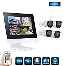Wireless NVR Wifi Kit 4CH 720P Outdoor Network Camera System, Eight 1.0 MP Security IP Camera Bullet Support Smartphone Remote View Without Hard Drive by SHY
