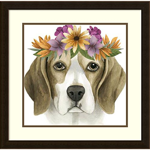 Framed Art Print 'Flower Crown Pup IV' by Grace Popp: Outer Size 23 x 23