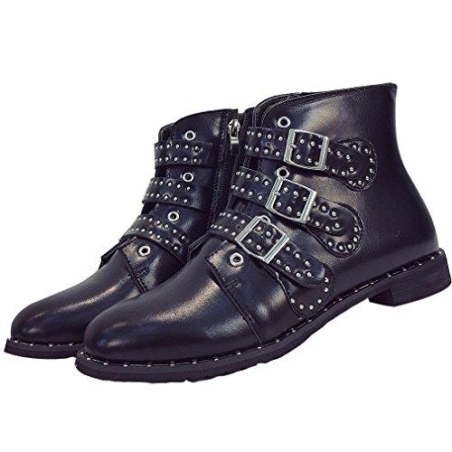 ENMAYER Mujer Charol Material Motocicleta Zapatos Botines Pisos Negro1