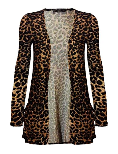 Ladies Animal Stripe Print Boyfriend Cardigan Womens Open Front Pocket Cardigan Brown Leopard US 16-18