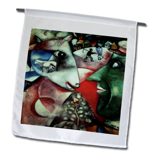 1911 Painting - 3dRose fl_130304_1 Chagall's 1911 The Village Painting PD-US Garden Flag, 12 by 18-Inch