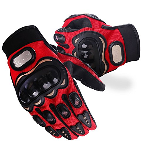 Tera Tactical Gloves Tactical Military Hard Knuckle Gloves/Motorcycle Gloves Full Finger for Motorcycle Paintball Airsoft Cycling Hiking Camping (Red, XX-Large)