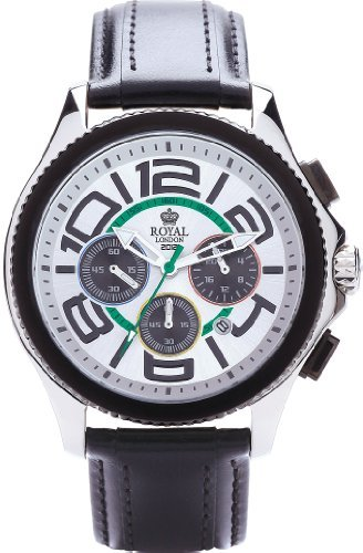 Royal London Men's Quartz Watch with White Dial Chronograph Display and Black Leather Strap 41112-01