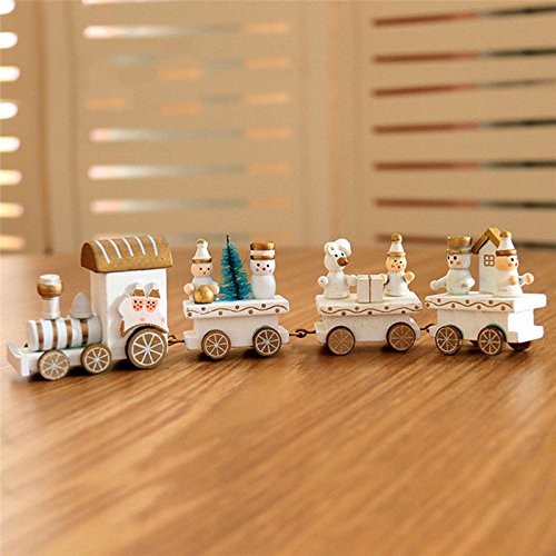 ANGELS--Popular 1Pc Little Train Decoration Wooden Train Decor Christmas Ornaments (White)