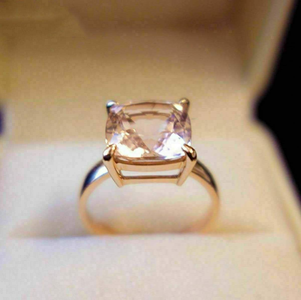 Shakti Jewels 14k Rose Gold Over 925 Silver Cushion Morganite /& Round Cut CZ Solitaire W//Accents Ring