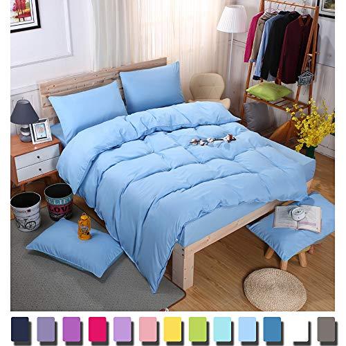 YAYIDAY Queen Duvet Cover Set Blue 3 Pcs - 1 Comforter Cover, 2 Pillowcases - Lightweight Microfiber Quilt Case Light Sky Aqua Vibrant Summer Bedding Zipper Inside Corner Ties Wrinkle Free