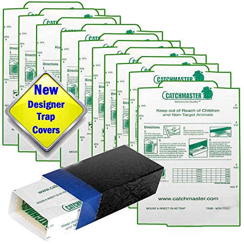 Catchmaster Glue Traps and 'Hide the Trap' Blue Covers 10 Pack. Catch Mice, Insects, Bed Bugs, Spiders, Crickets, Roaches and Mouse. Peanut Butter Scented Sticky Boards Pest Control. ()