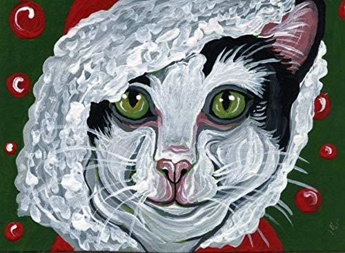 ACEO ATC -free shipping-Christmas Tuxedo Cat Santa Coat-Original Painting-Carla Smale