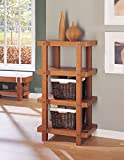 Organize It All Freestanding Rustic Wood 4-Tier Storage Shelf