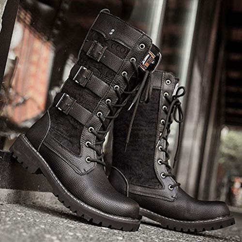 US:8, Black Black Tide High Boots for Mens Casual Engineer Lace Up Buckle Leather Motorcycle Shoes