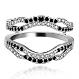 Uloveido Black Cubic Zirconia Ladies Anniversary Wedding Band Wide Enhancer Guard Double Ring for Women White Gold Plated Y444