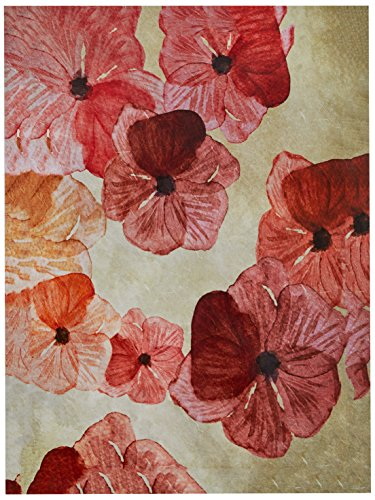 Modern Red Pink Floral Print Wall Art on Canvas, 16 x 20