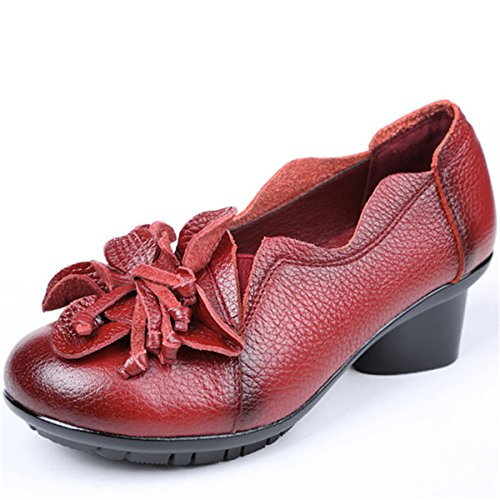 Red Walking Pumps Outdoor Shoes Leather Block Casual Flower Socofy Mid Shoes Women Shoes Vintage Heel Handmade ZfxWqR7w5