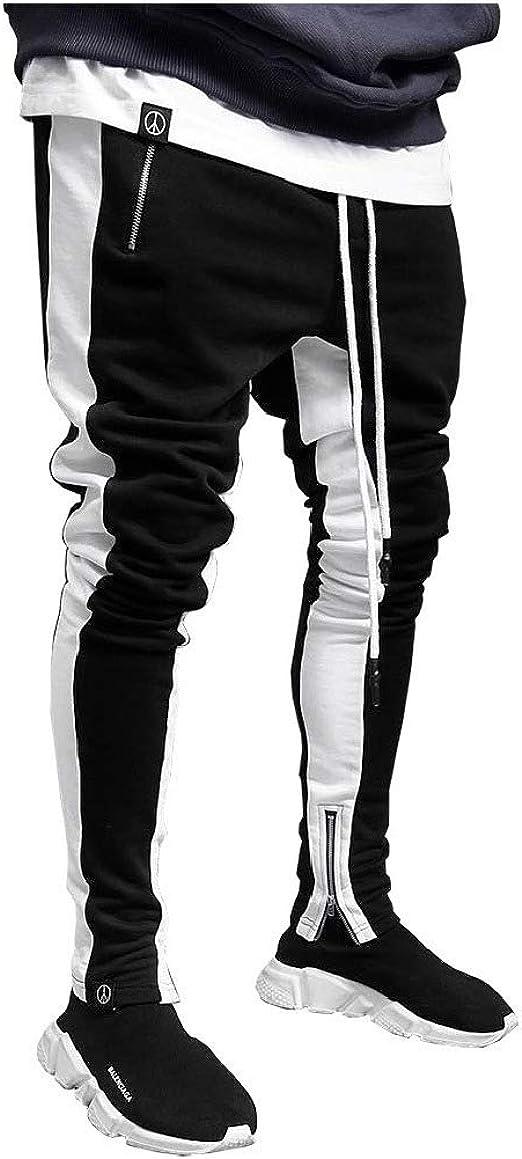 YAXINHE Men Zip Tapered Skinny Elastic Drawstring Casual Harem Pants